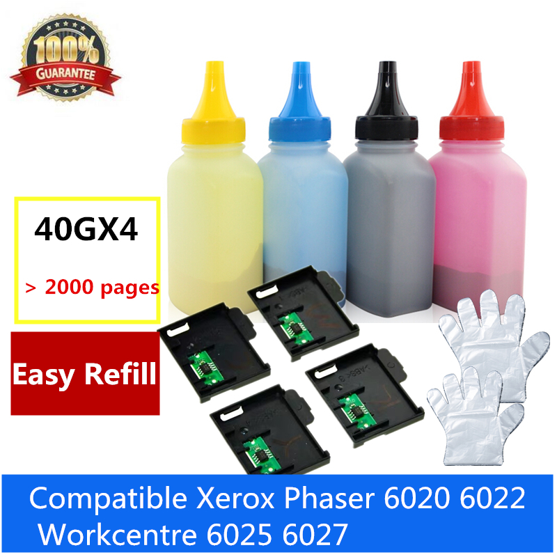 Recarga toner garrafa para xerox phaser 6020 6022 workcentre 6025 6027 cartucho de toner com 1 conjunto toner chip para xerox 6020 6025