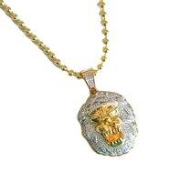27 pulgadas cadena del grano 2016 Promoción de la Fábrica de la alta calidad fresco mens hip hop Bling collar de la cabeza del león