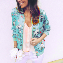 Bomber Jacket Women Floral Print Plus Size Coat Spring Summer Ladies Casual Clas