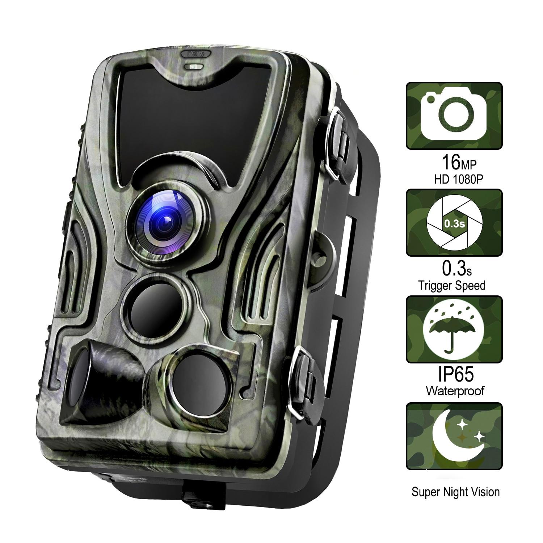Qajxcy HC801 الصيد كاميرا 16MP كاميرا تعقب للرؤية الليلية الغابات مقاوم للماء الحياة البرية كاميرا صور الفخاخ كاميرا الكشافة الكشافة