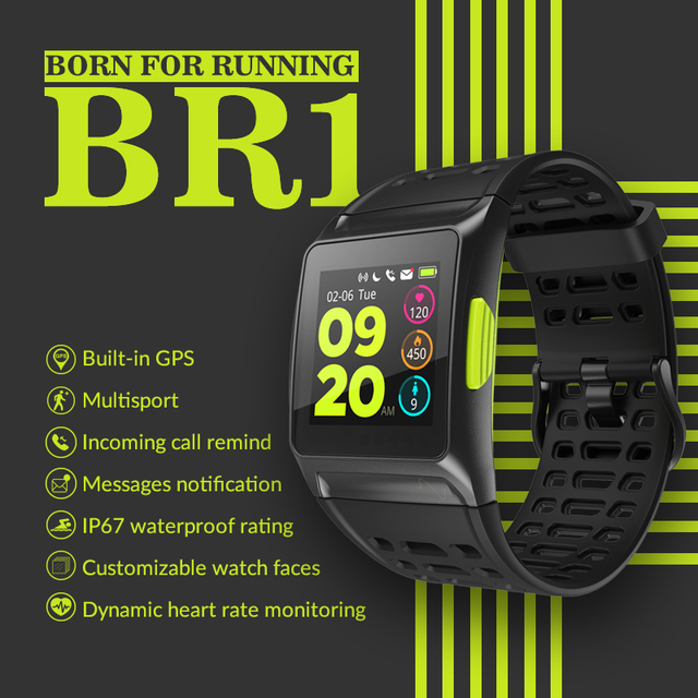 Makibes BR1 GPS Men's Women Smart Watches Bluetooth Strava ECG PPG Wristwatch Fitness Tracker Wearable Devices Smart Band