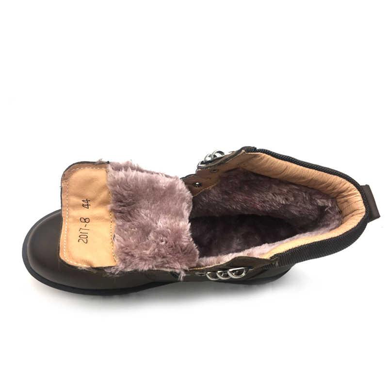 Мужские ботинки на меху; сезон осень-зима; Наивысшее качество; удобная мужская зимняя обувь из натуральной кожи; водонепроницаемые зимние ботинки; Прямая поставка