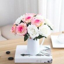 1PC Beautiful Silk Flower Artificial Rose Fake Wedding Arrangement Home Decoration diy