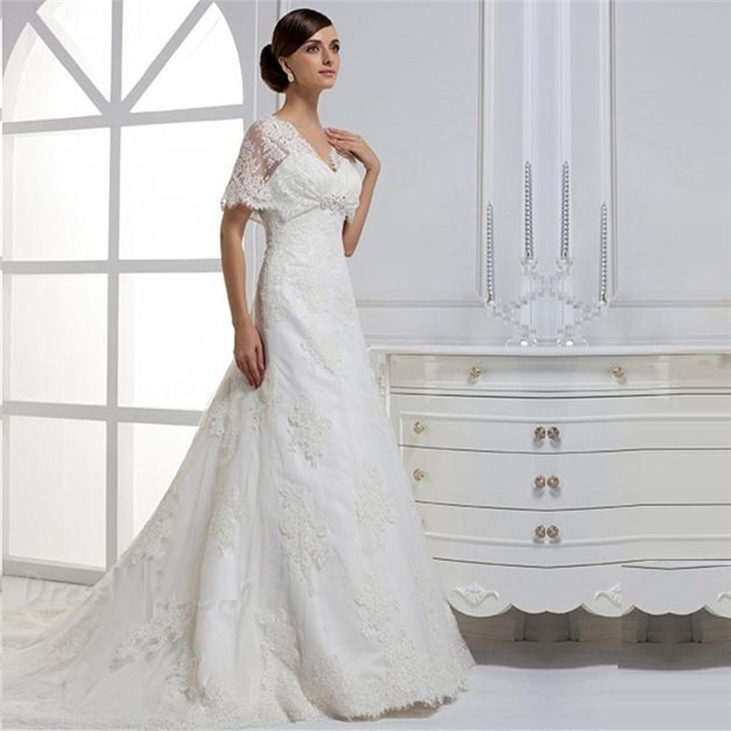 Lace bell sleeves wedding dress 2015 empire waist crystal for Empire lace wedding dress