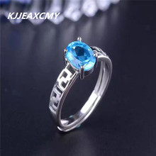 KJJEAXCMY color gem Topaz Ring Natural Gemstone Crystal jewelry wholesale 925 silver ring