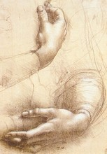 Study Of Hands by Leonardo Da Vinci Handpainted