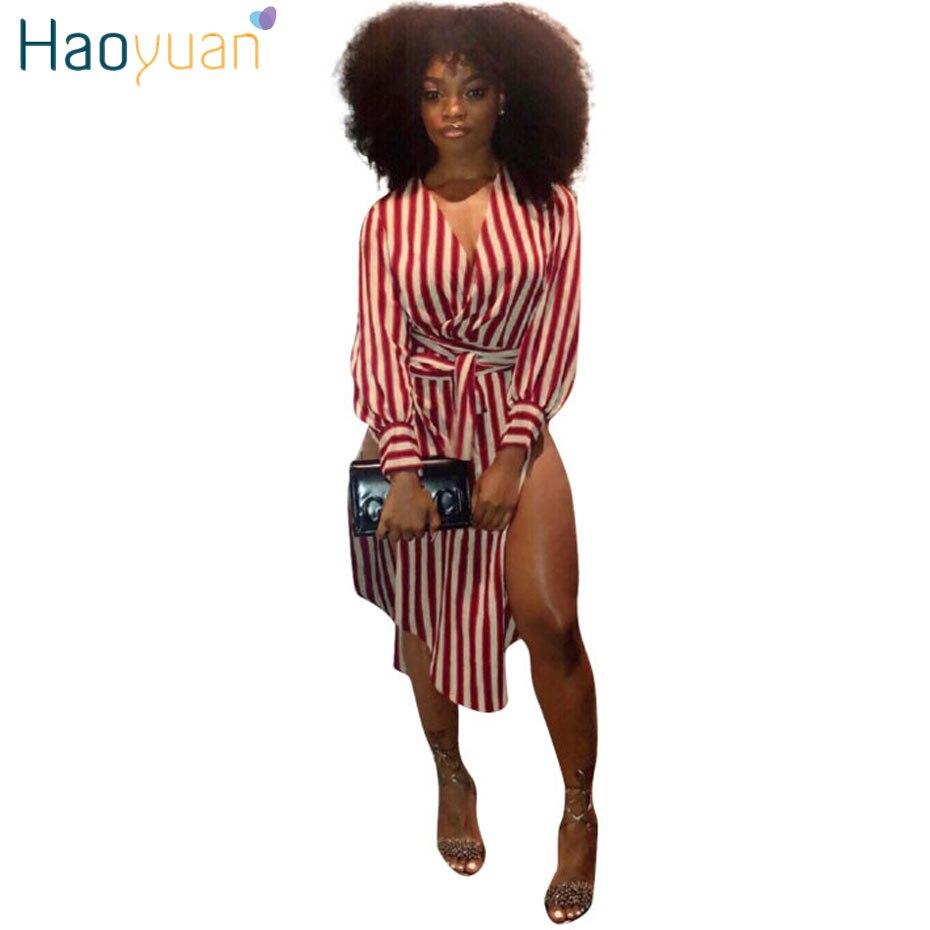 1f6ceebd0 HAOYUAN Sexy Camisa Listrada Vestido Com Caixilhos Side High Slit Red Mulheres  Roupas de Verão Vestido de Verão Com Decote Em V Manga Longa Vestidos  Casuais