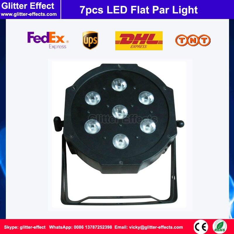 ФОТО 7pcs LED Flat Par light RGBW 4 in 1 DJ Super Bright Slim Par Tri 7x10W LED Stage Wash Lighting for Disco Wedding Concert Parties