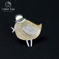 Lotus Fun Real 925 Sterling Silver Natural Handmade Fine Jewelry Lovely Gentleman Bird Design Brooches Pin Broche For Women