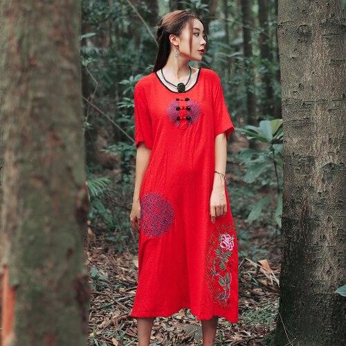 Élégant Rouge Style Coton Robe Femmes Artistique Broderie Ethnique Et 2018 Robes Midi Vintage D'été Lin D92EHWI