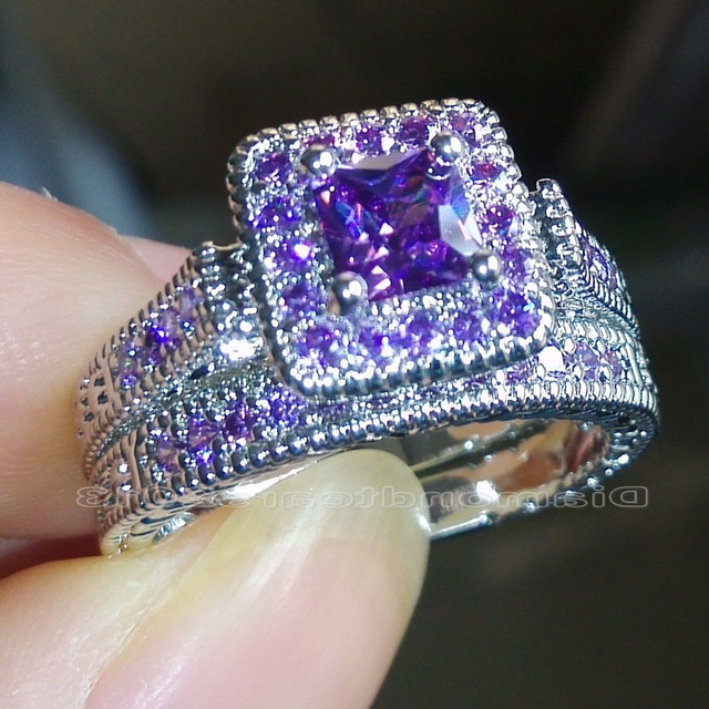Size 5 6 7 8 9 10 Princess Cut Luxury Trendy 18kt White Gold Filled Purple Aaa Cubic Zirconia Wedding Ring Set Gift Choucong In Engagement Rings From