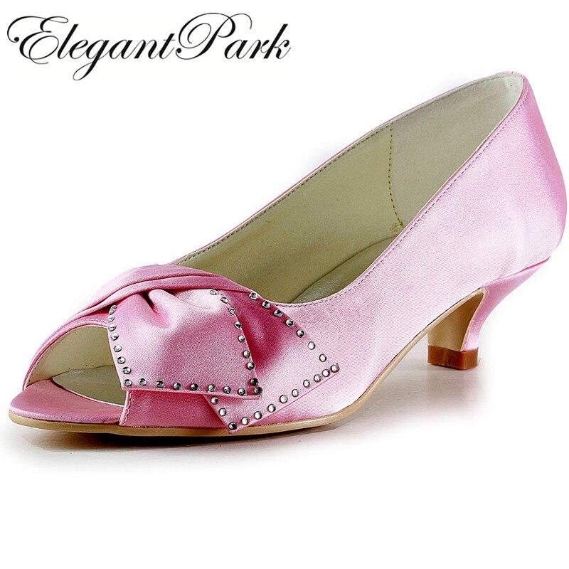 Women Shoes Pink Blue Black EP2022 Peep Toe Rhinestone Bow