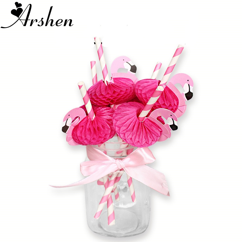 35991513d3562 Arshen 10pcs Set Rose Pink Flamingo Straws Honeycomb Craft Sucker Swan  Cartoon Drinking Fruit Juice Cocktail Paper Straw Party-in Disposable Party  Tableware ...