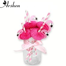 Arshen 10pcs/Set Rose Pink Flamingo Straws Honeycomb Craft Sucker Swan Cartoon Drinking Fruit Juice Cocktail Paper Straw Party(China)