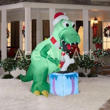 outdoor Christmas party prop decoration inflatable Christmas brontosaur with gifts