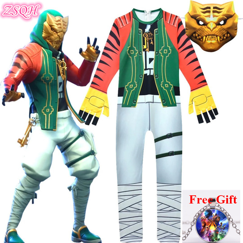 ZSQH Fortnight Master Key Jumpsuit Fortnited Battle Royale Cosplay Costume Fortress Night Master Key costumes For Kids Bodysuit