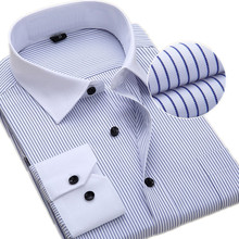 Mens Classic Shirt Large Size S-7XL 8XL Men Work Shirts Striped / Twill with Long Sleeves Casual Smens White