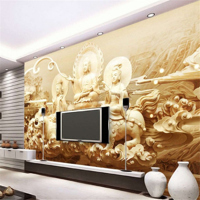 Beibehang Guanyin Buddha Buddhist Religion Photo Wallpaper 3D Continental  Streetscape Paper Landscape Bedroom Mural Wall Paper