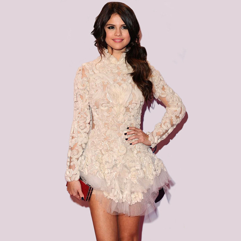 2016 New brand Selena Gomez Short White Red Carpet Dresses Mini Party Dresses Long Sleeve popular Evening Dress Vestido De Renda