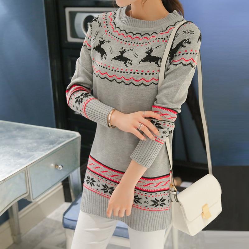 2017 NUEVA sección larga de la primer suéter de las mujeres camisa de manga larg