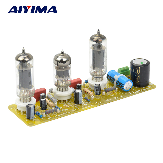 AIYIMA Vacuum Tube Amplifier 6N1+6P1 Stereo Power Amplifier Board Epoxy Glass Fiber Filament AC Power Supply With 3Pcs Tubes