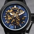 2016 Fashion Luxury Top Brand WINNER Automatic Mechanical Men Watches Steel Case Crown Cap Skeleton Black Rubber Band Wristwatch