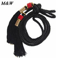 2017 New Ethnic Wild Knitted Waist Rope Chinese Red Pendant Tassels Female Waistband Fashion Waist Belts For Women