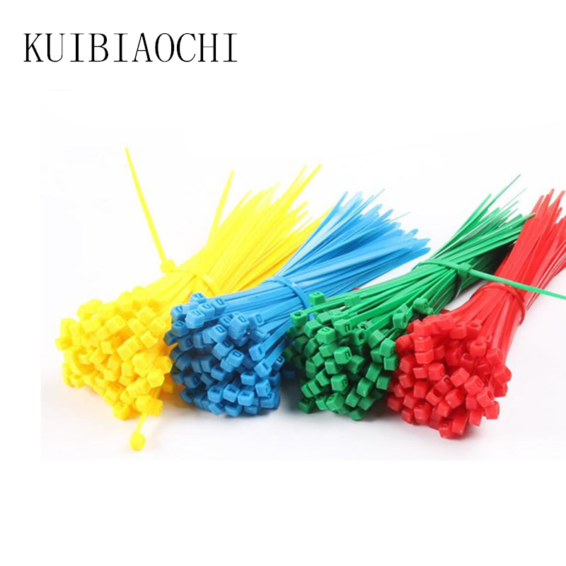 100pcs/lot 4*200MM Standard Cable Tie Plastic Nylon Cable Ties with Self-locking Colorful Width 2.7mm screed