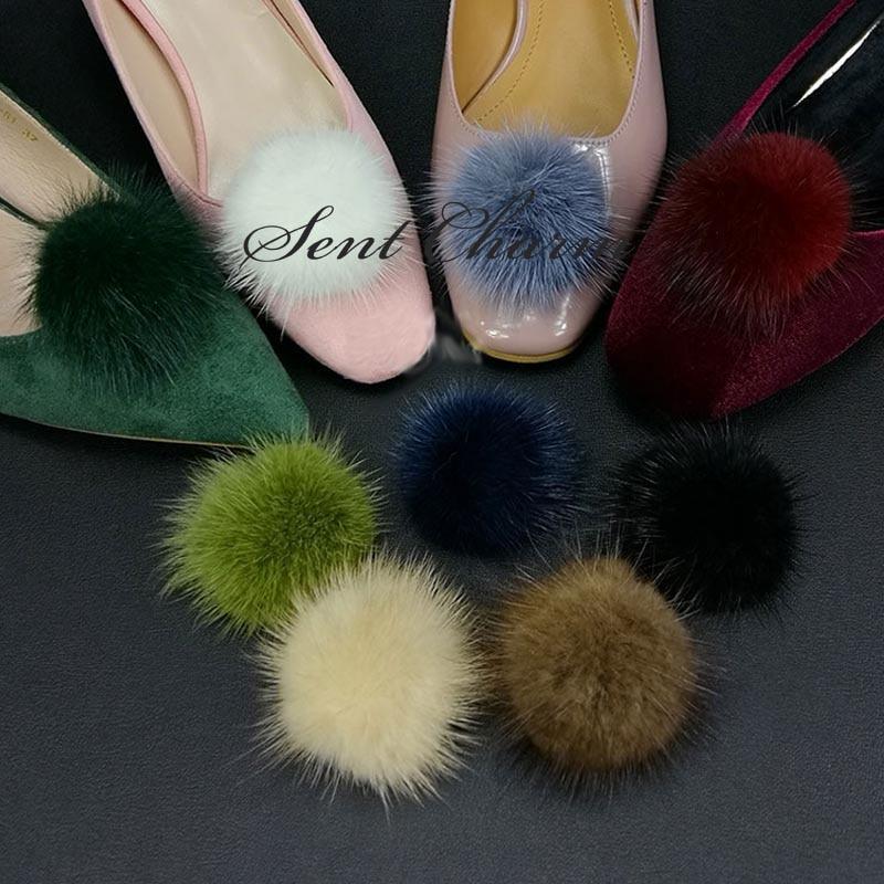 SENTCHARM Hot Sale Multicolor Mink Hair Women's Shoes Decoration Detachable Elegant Shoes Accessory For High Heels
