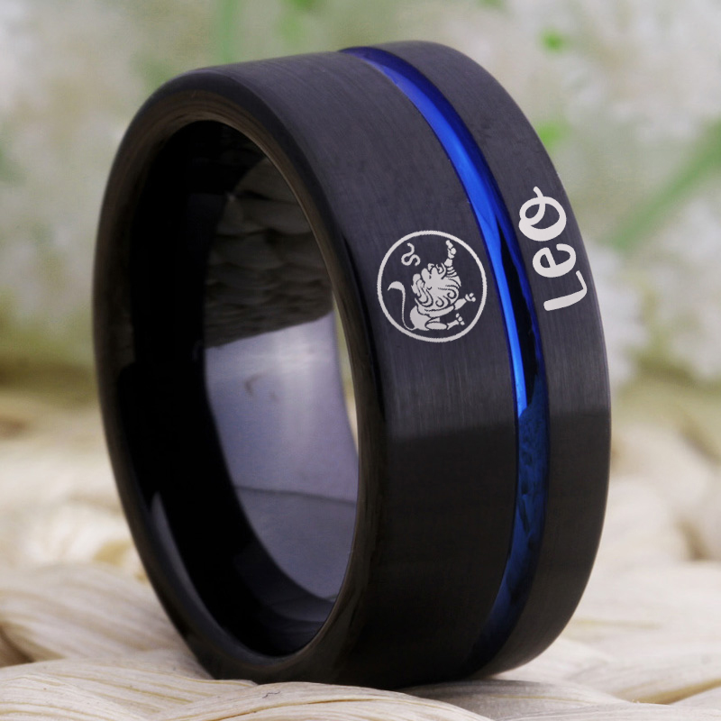 Image 2 - Fashion Rings Leo Zodiac Jewelry Mens Lion Design Ring Women Girls Black Blue Line Tungsten Carbide Wedding Ring EngagementRings   -