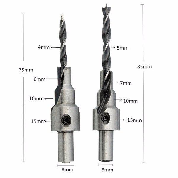 2pcs 4mm-5mm HSS 5 Flute Countersink Drill Bits Set Reamer Woodworking Chamfer