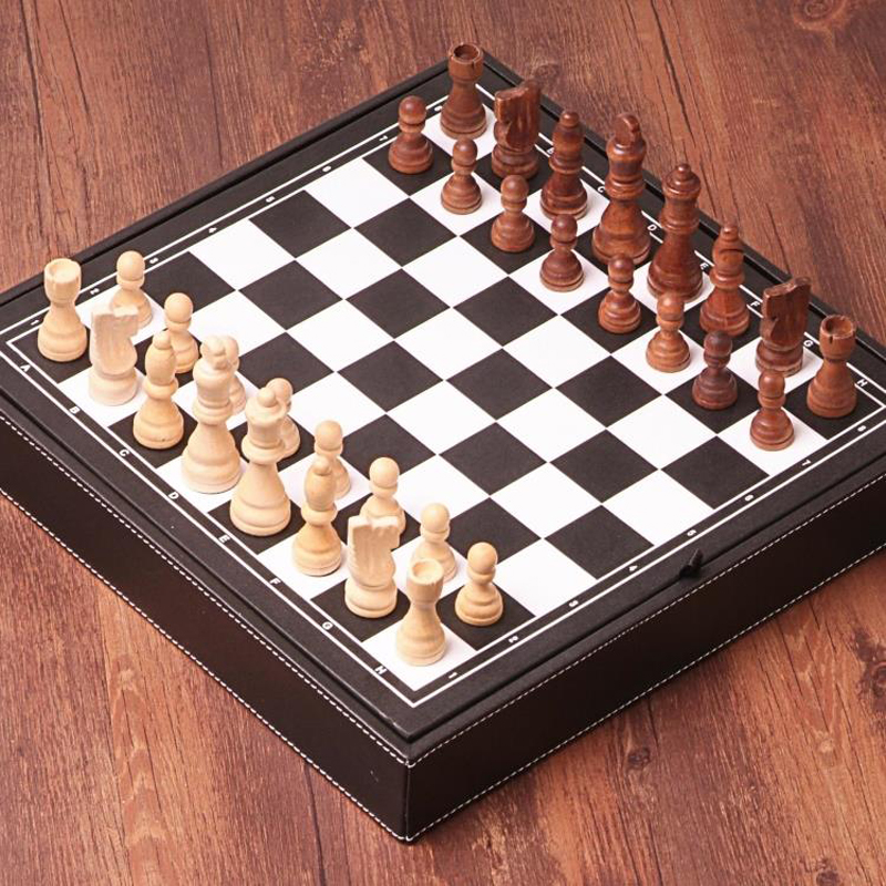 цены на BSTFAMLY wood chess set game, portable game of international chess, High-grade leather box chessboard wood chess pieces, LA36