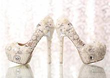Classic Heels White Pearl Bride Shoes New Style  Pumps Bridal Wedding Dress Shoes Formal Prom Rhinestone Crystal Shoes