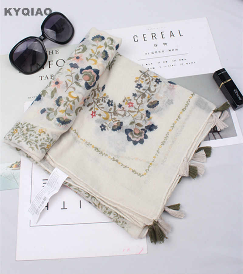 KYQIAO Donne sciarpa di marca di lusso 2020 delle donne di autunno della molla di stile Giapponese fresco dolce lunga sciarpa della stampa del capo dello scialle marmitta