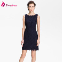 Elegant Party Dress Navy Blue Sleeveless Vestidos De Festa Straight Skirt Vintage Lace Cocktail Dresses 2016
