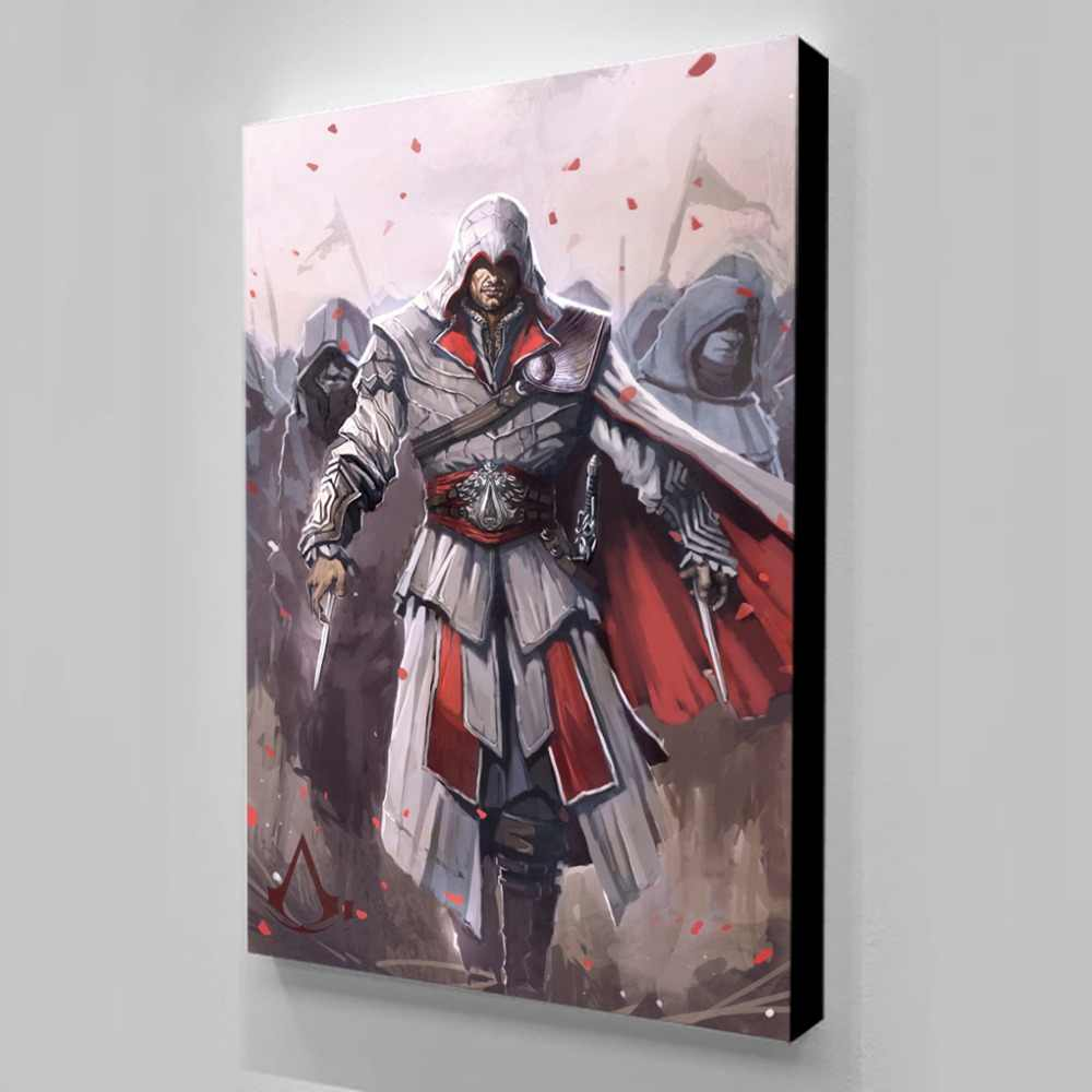 Waterproof Ink Poster Anime For Living Room Assassins Creed Canvas