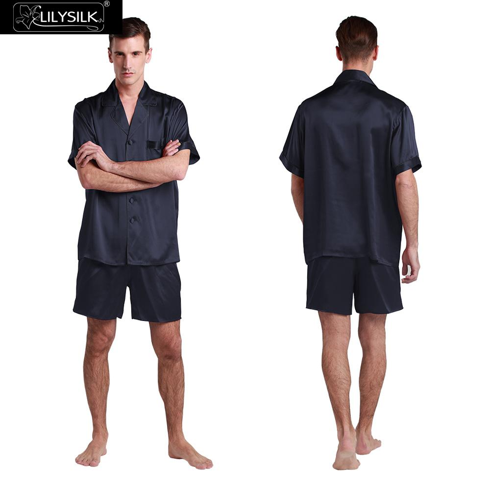 47de31afe9 LILYSILK 22 Momme Silk Pajamas With Exotic Buttoned Front 3pcs Free  Shipping-in Men s Pajama Sets from Underwear   Sleepwears on Aliexpress.com