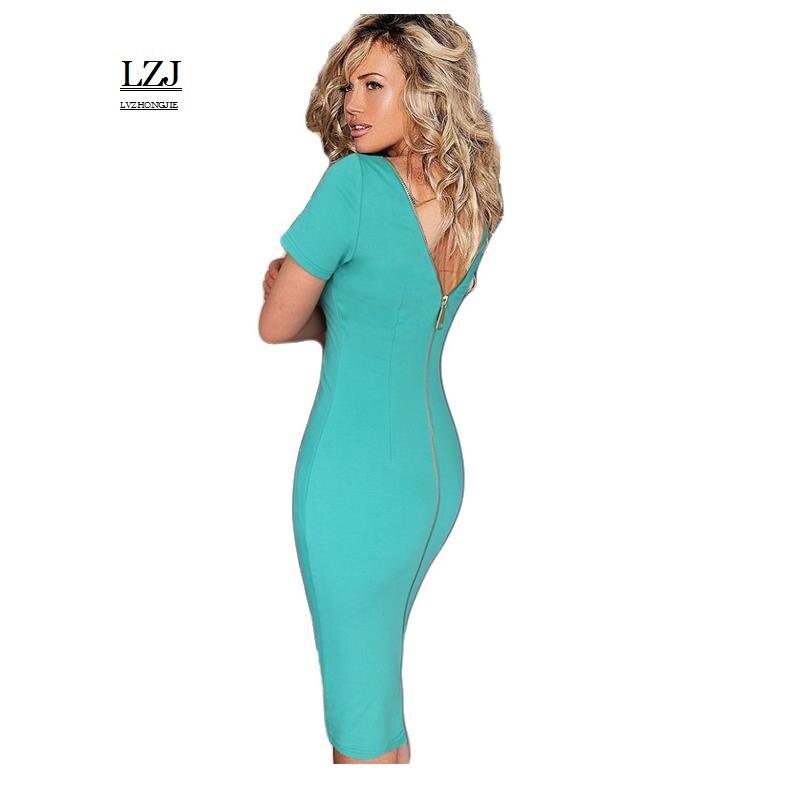 LZJ Womens Elegant Leak back Ruched Slim Tunic Casual Party Evening Special Occasion Sheath Pencil Bodycon Dress vestidos L37