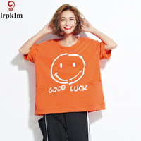 Summer Women T Shirt Oversized 2017 Tops Tees Women Clothes Smile T Shirt O Neck Fashion