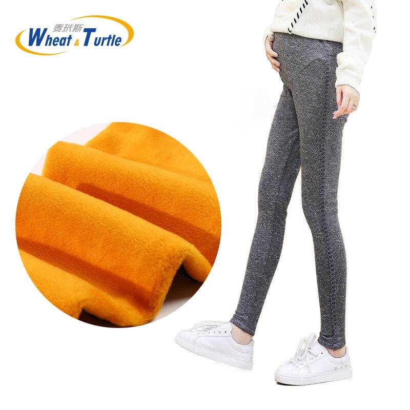 2019 New Good Quality Cotton Leggings For Pregnant Women Thicken Gold Velvet Slim Maternity Leggings Pencil Pants For Pregnancy in Leggings from Mother Kids