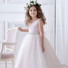 New Light Pink Puffy Girls Dresses for Wedding Lace Top Beaded Sash Girls Birthday Party Dress Pageant Gown Size2-16Y white ivory 2018 flower girls dresses for wedding beaded lace princess girls dress pageant gown size 2 16y
