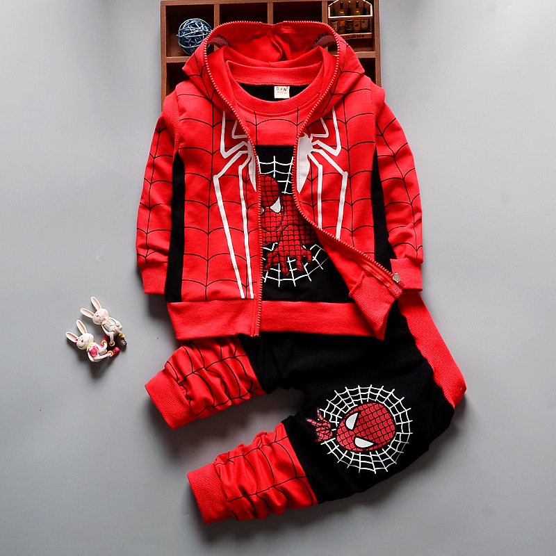 2018 Boys Clothing Sets Print Cartoon Jacket + T-Shirt + Pants Children Clothing 3 Pcs  Baby Boys Spider Man Clothes Set(China)