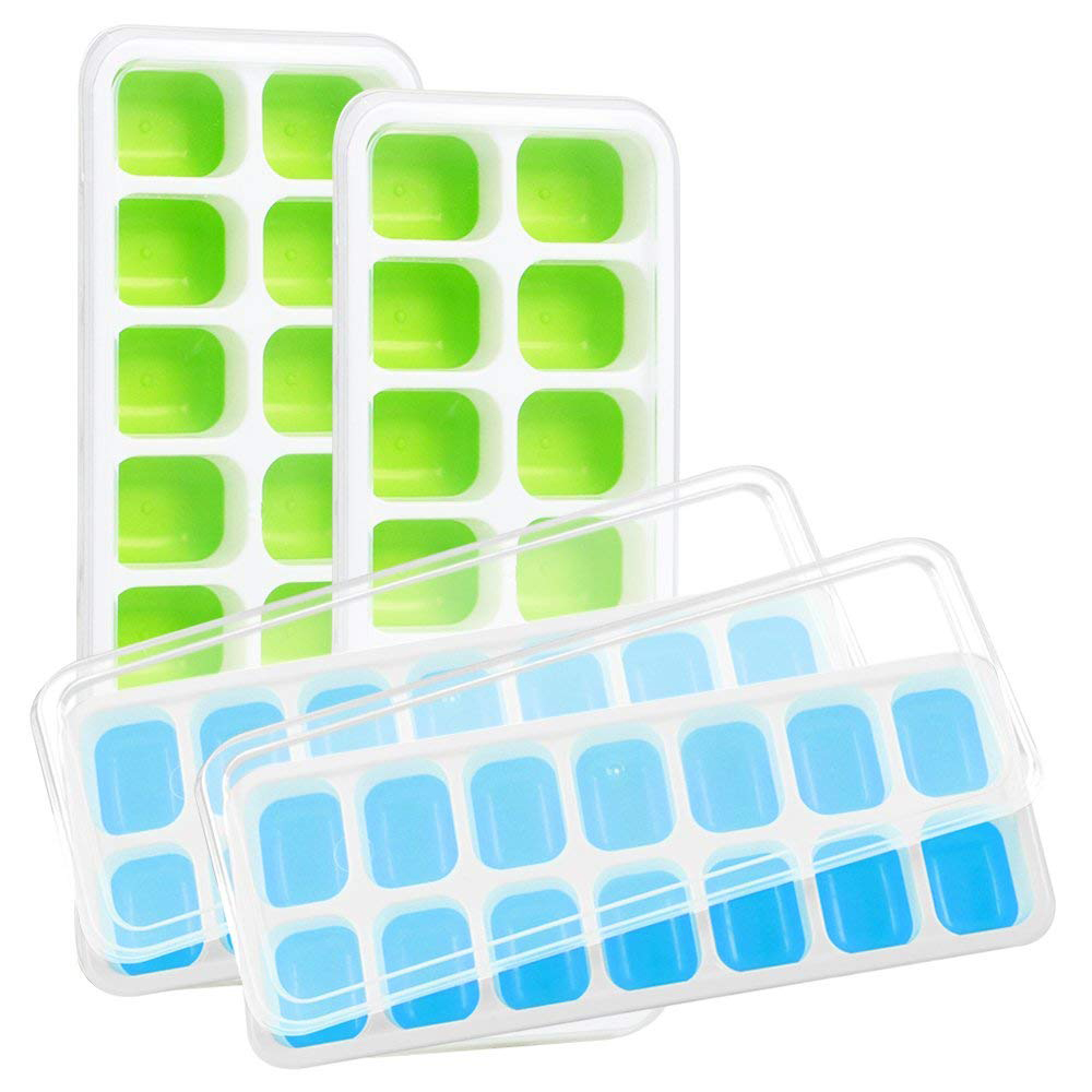 Ice Cube Trays With Lid Bpa Free 14 Ice Cubes Molds Easy Release