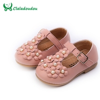 Claladoudou 13 5 15 5CM Brand Girls PU Leather Shoes Pink Flower Pearl Strap Dress Shoes