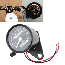 Motorcycle Odometer 12V Black Retro Yellow Light Double Mileage Kilometers Speedometer for Universal wholesale