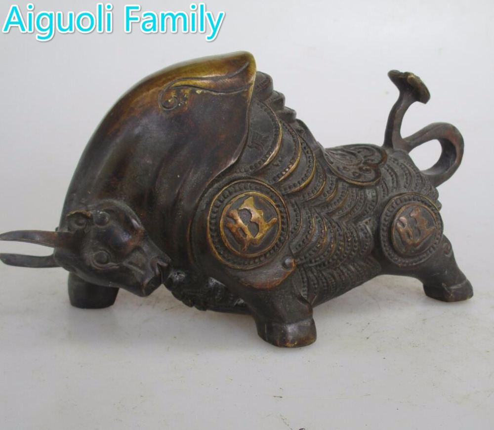 Aaa rare chinese old copper carved money cow bull statue