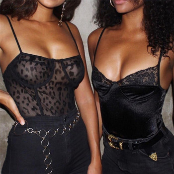 Sexy Black Lace Mesh Bodysuits 3