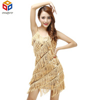 HOT SALE FLAPPER FRINGE 1920s GOLD GREAT GATSBY CHARLESTON SEQUIN PARTY LATIN DRESS SMALL