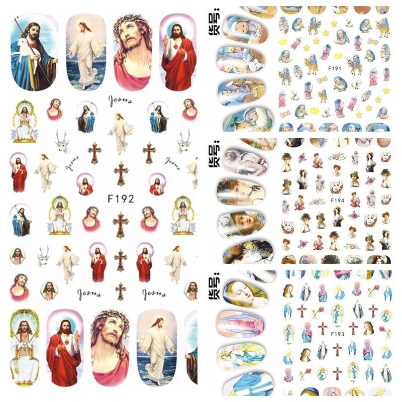 1 Sheet 3D Jesus Godness The Virgin Mary Kids Paintings Pattern Adhesive Nail Art Stickers Decorations DIY Salon Tips F19X#
