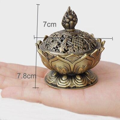 ERMAKOVA китайский сплав Будда благовония горелка цветок лотоса ладан держатель курильница для буддистского домашнего офиса украшения подарок - Цвет: Small antique bronze